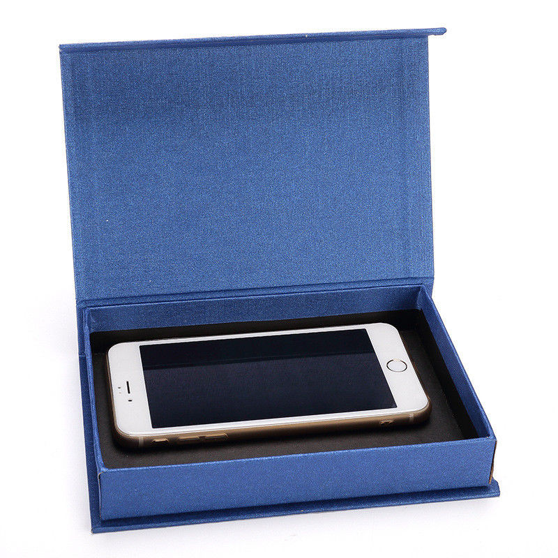 Fancy Cell Phone Accessories Packaging Box Blue Color Clamshell Style